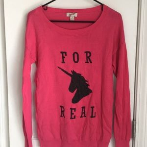 hot pink FOR REAL unicorn pullover graphic sweater